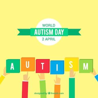 Fundo do dia do autismo com peças coloridas