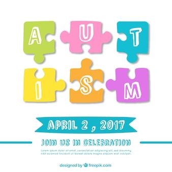 Fundo do dia do autismo com peças do puzzle