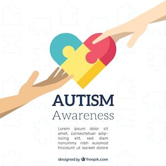 Fundo do dia do autismo em estilo plano