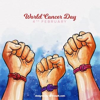 Fundo do dia do câncer mundial de aquarela