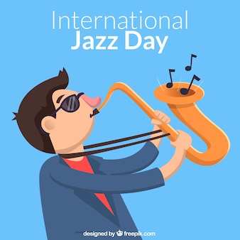 Fundo do dia do jazz com o trompetista