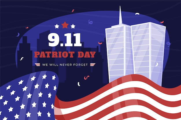 Fundo do dia do patriota desenhado à mão 9.11