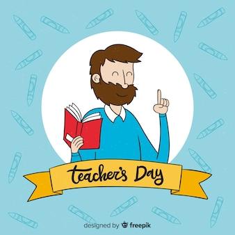 Fundo do dia do professor mundial de mão desenhada