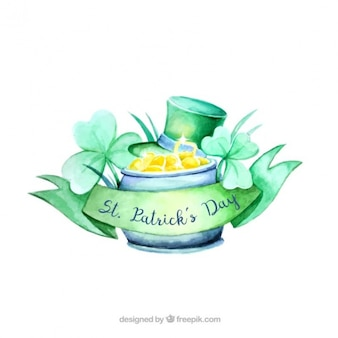 Fundo do dia do st patrick com elementos decorativos aquarela