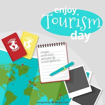 Fundo do dia do turismo de documentos de viagem