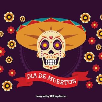 Fundo do dia dos mortos com caveira e chapéu mexicano