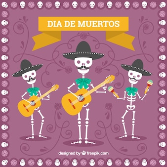 Fundo do dia dos mortos com esqueletos de mariachi