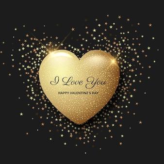 Fundo do dia dos namorados com coração dourado
