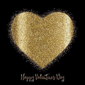Fundo do dia dos namorados com coração glitterado de ouro