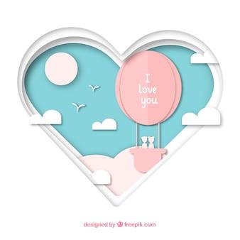 Fundo do dia dos namorados com forma de coração cortado