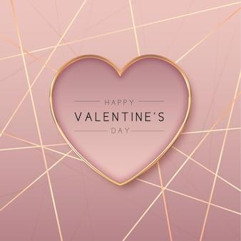 Fundo do dia dos namorados com formato de coração dourado