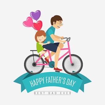 Fundo do dia dos pais com a família a andar de bicicleta