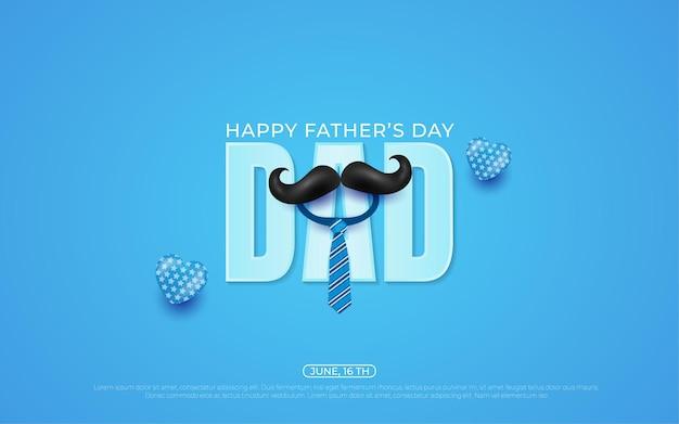 Fundo do dia dos pais com ilustrações de balão e gravata azuis