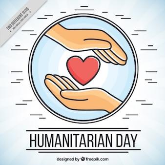 Fundo do dia humanitária com as mãos