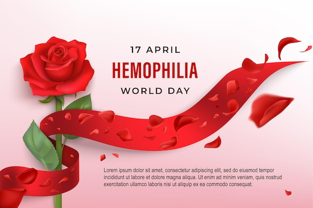 Fundo do dia mundial da hemofilia com rosa enrolada em fita