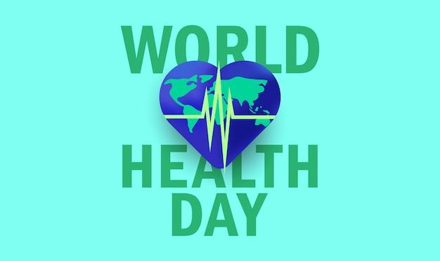 Fundo do dia mundial da saúde com coração globo e ilustração vetorial de pulso