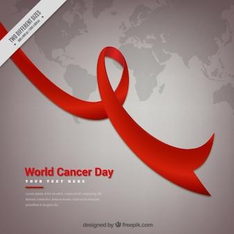 Fundo do dia mundial do câncer com mapa de mundo e fita
