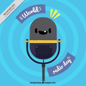 Fundo do dia Rádio Mundo com microfone sorrindo