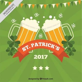 Fundo do dia verde do st patrick com cervejas e festão