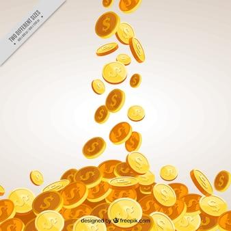Fundo do dinheiro com moedas douradas decorativas