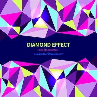 Fundo do efeito diamante com formas coloridas