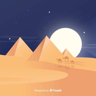 Fundo do egito com pirâmides e camelos