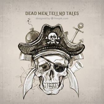 Fundo do esboço do crânio pirata na aguarela