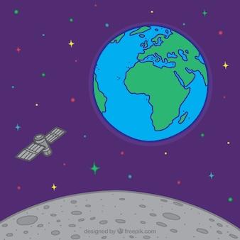 Fundo do espaço com a terra ea lua