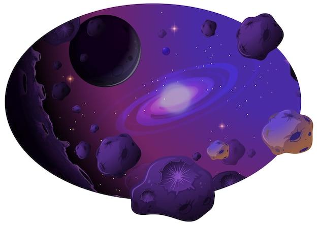 Fundo do espaço com galáxia e meteoritos