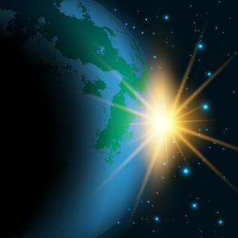 Fundo do espaço com sol nascente por trás de uma terra fictícia