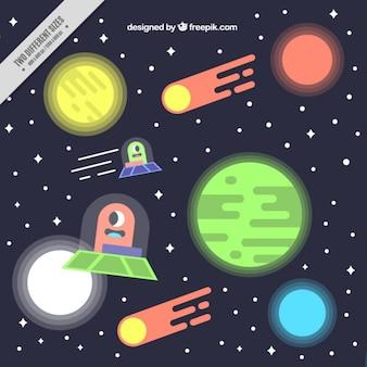 Fundo do espaço plano com ufos