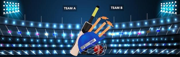 Fundo do estádio do torneio de críquete com equipamento de críquete