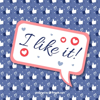 Fundo do facebook com coração e como ícones