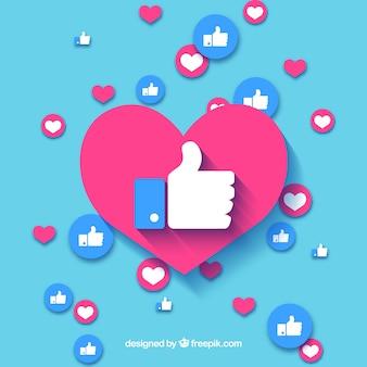 Fundo do facebook com corações e gostos