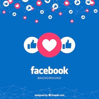 Fundo do facebook com gostos e corações