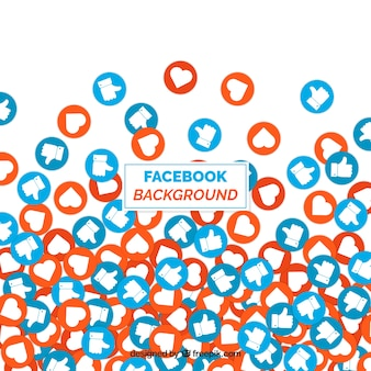 Fundo do facebook com ícones como e coração