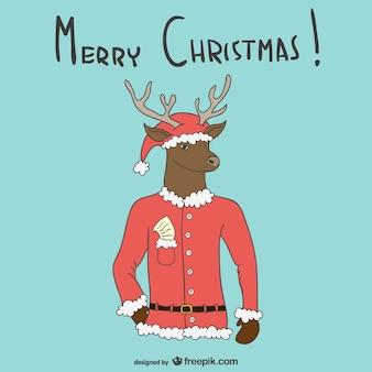 Fundo do feliz natal com alces