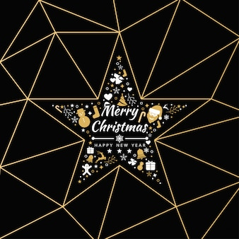 Fundo do feliz natal com bandeira dos ícones da estrela do elemento, flocos de neve. ilustração vetorial