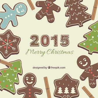 Fundo do feliz natal com biscoitos de gengibre