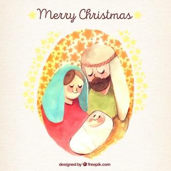 Fundo do feliz natal com ilustração da cena da natividade da aguarela