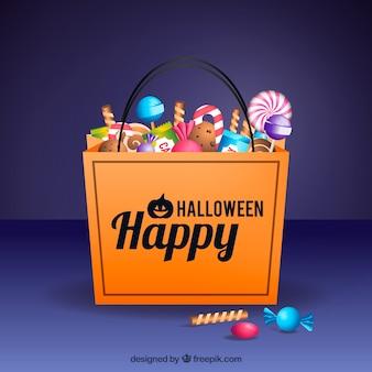 Fundo do feliz saco de halloween com doces