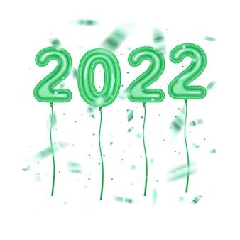 Fundo do feriado fundo brilhante da festa balões da folha numeral 2022 feliz ano novo