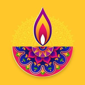Fundo do festival de diwali. festival de luzes do conceito de arte rangoli indiano.