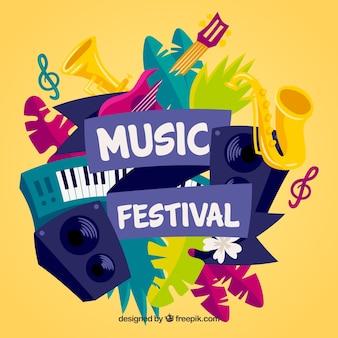 Fundo do festival de música com instrumentos em estilo desenhado à mão