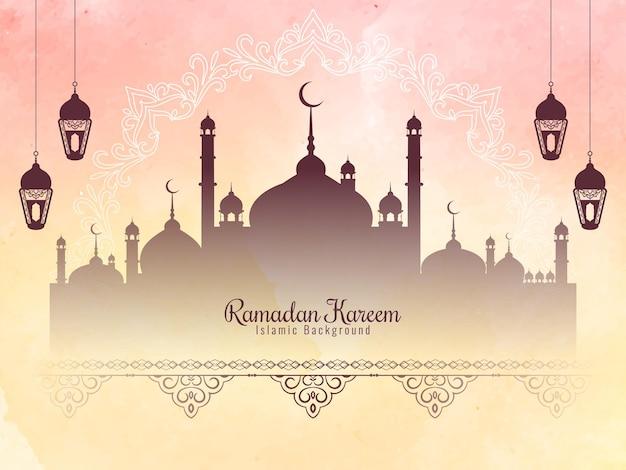 Fundo do festival ramadan kareem com textura suave em aquarela