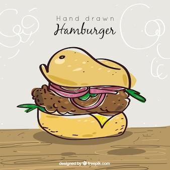 Fundo do hamburguer desenhado à mão com cebola