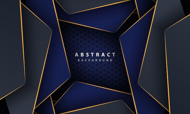 Fundo do hexágono abstrato azul escuro com formas gradientes de linha ouro. modelo de design para banner, cartazes, capa, etc.