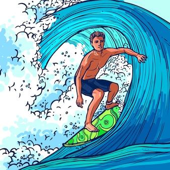 Fundo do homem do surfista