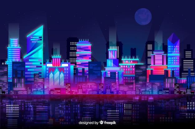 Fundo do horizonte da cidade futurista