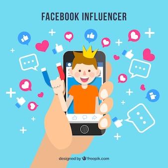 Fundo do influenciador do facebook